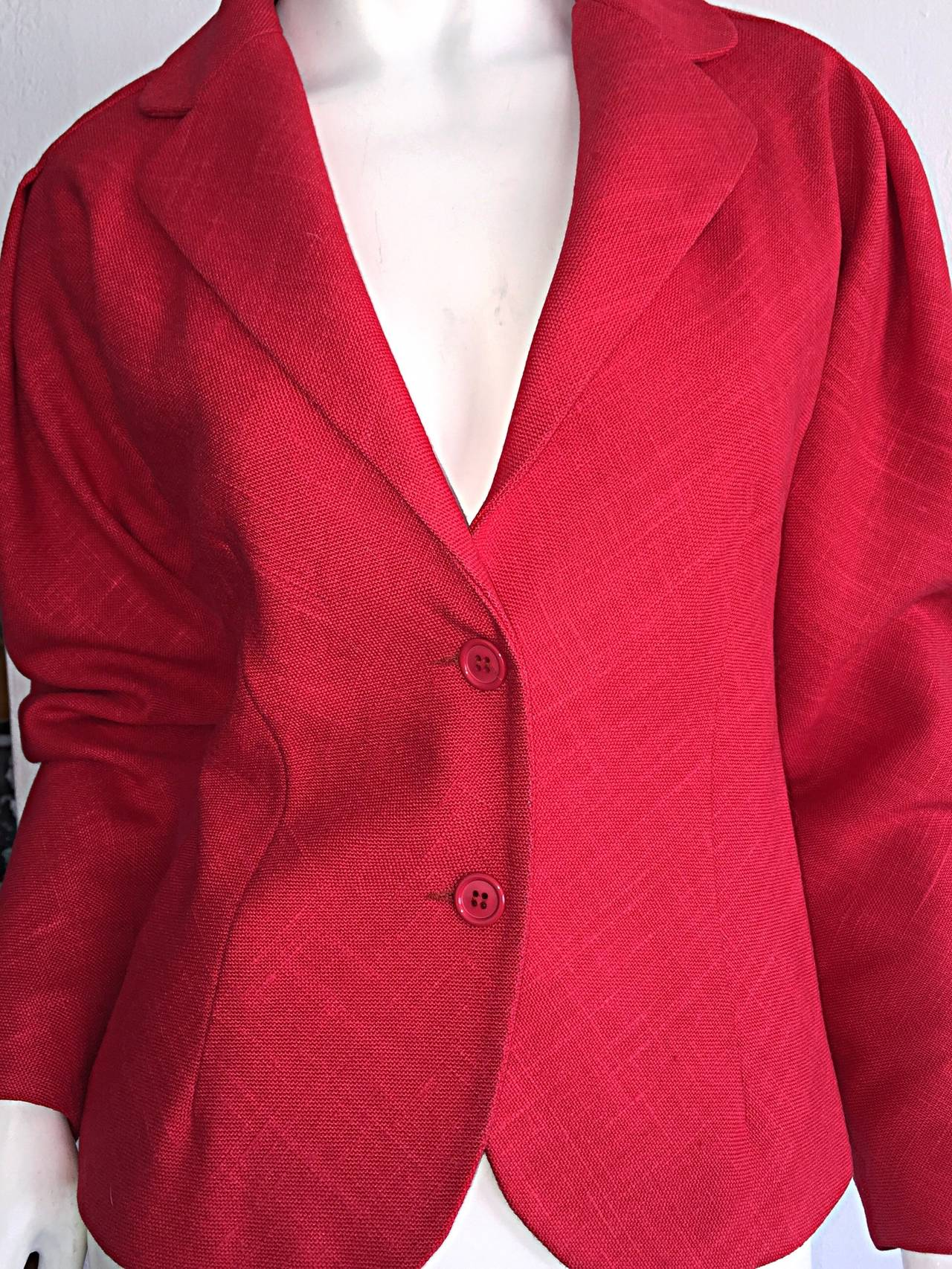 Vintage Halston Candy Apple Red Fitted Linen Blazer Jacket For Sale 2