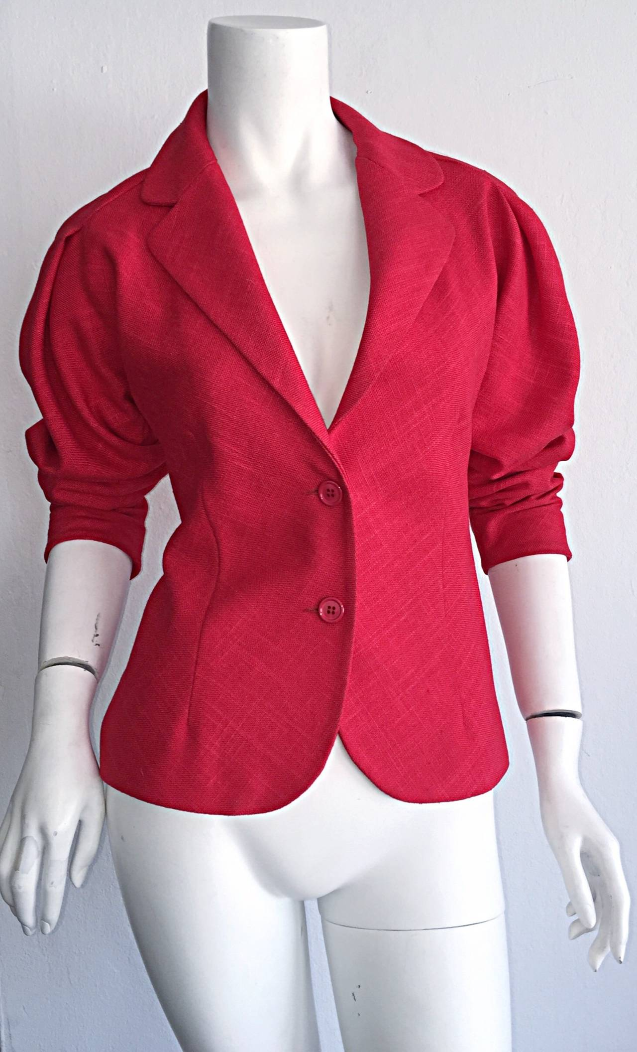Vintage Halston Candy Apple Red Fitted Linen Blazer Jacket 7