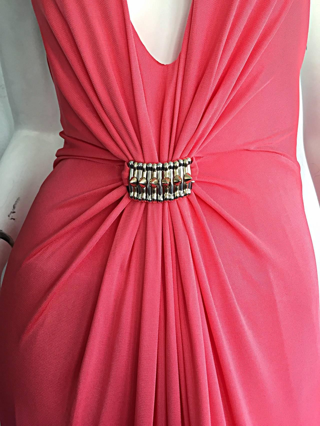 Byblos Pink Silk Jersey ' Plunge ' Pink Coral Halter Gown w/ Spikes 2