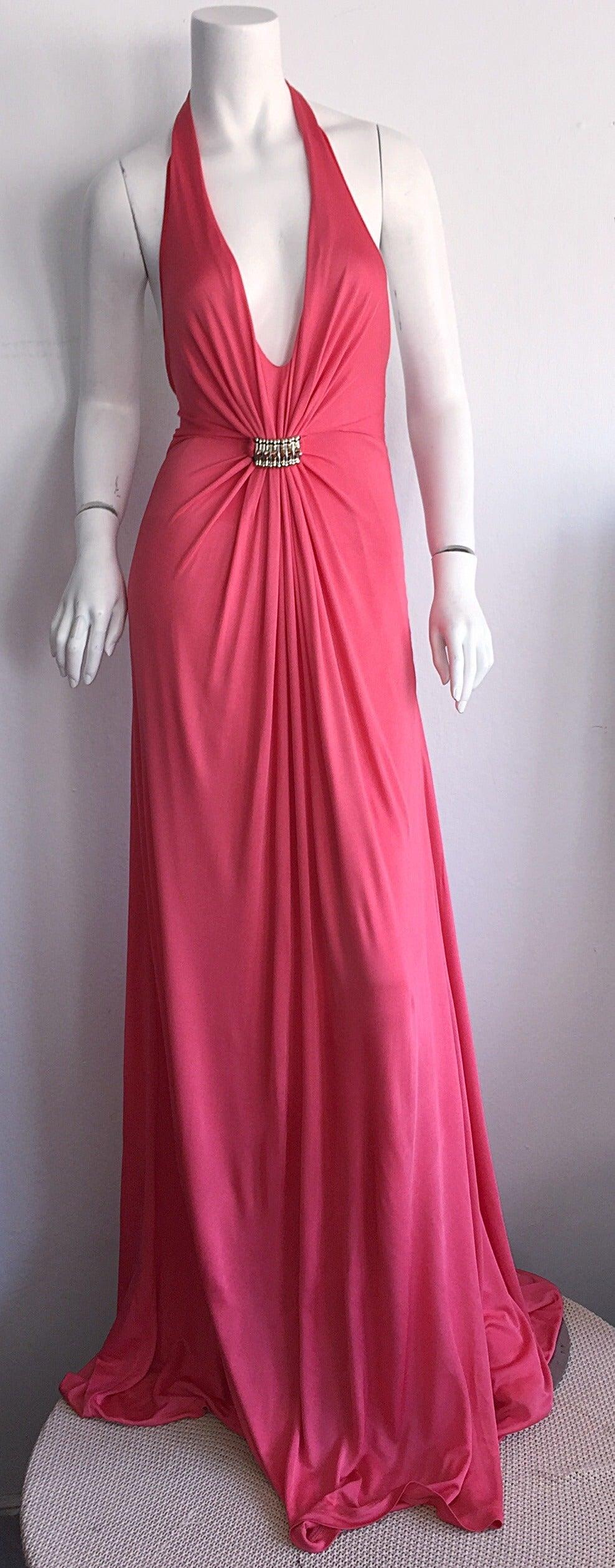 Byblos Pink Silk Jersey ' Plunge ' Pink Coral Halter Gown w/ Spikes 3