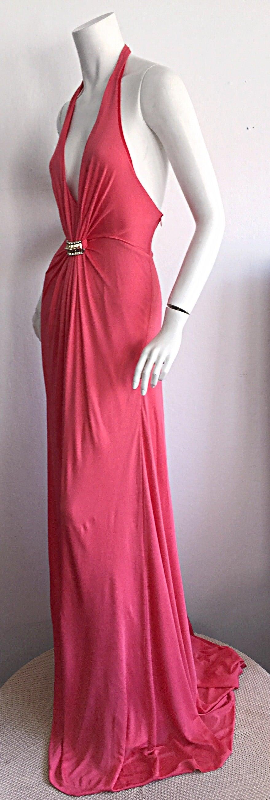 Byblos Pink Silk Jersey ' Plunge ' Pink Coral Halter Gown w/ Spikes 4