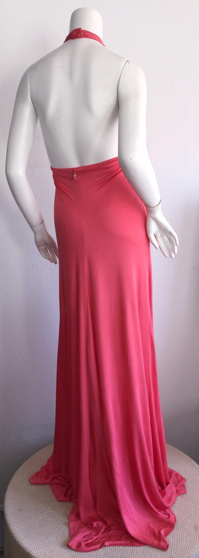 Byblos Pink Silk Jersey ' Plunge ' Pink Coral Halter Gown w/ Spikes 5