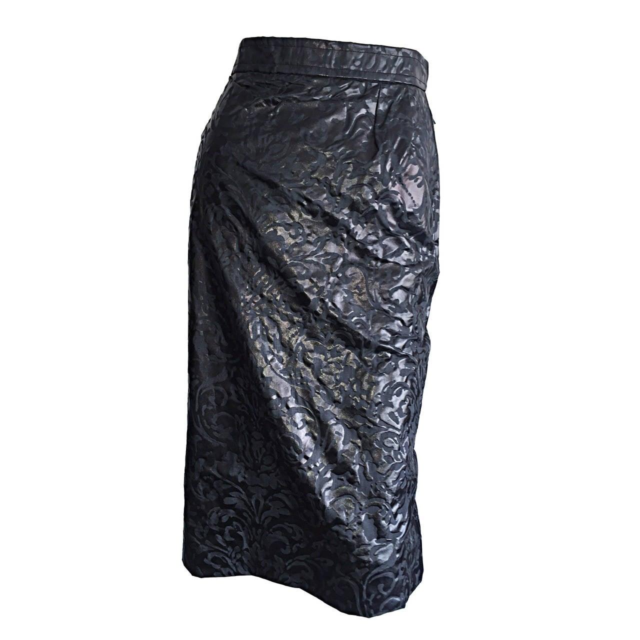 Stunning Vintage Yves Saint Laurent Silk Laser Cut High Waist Black Skirt Sz 44