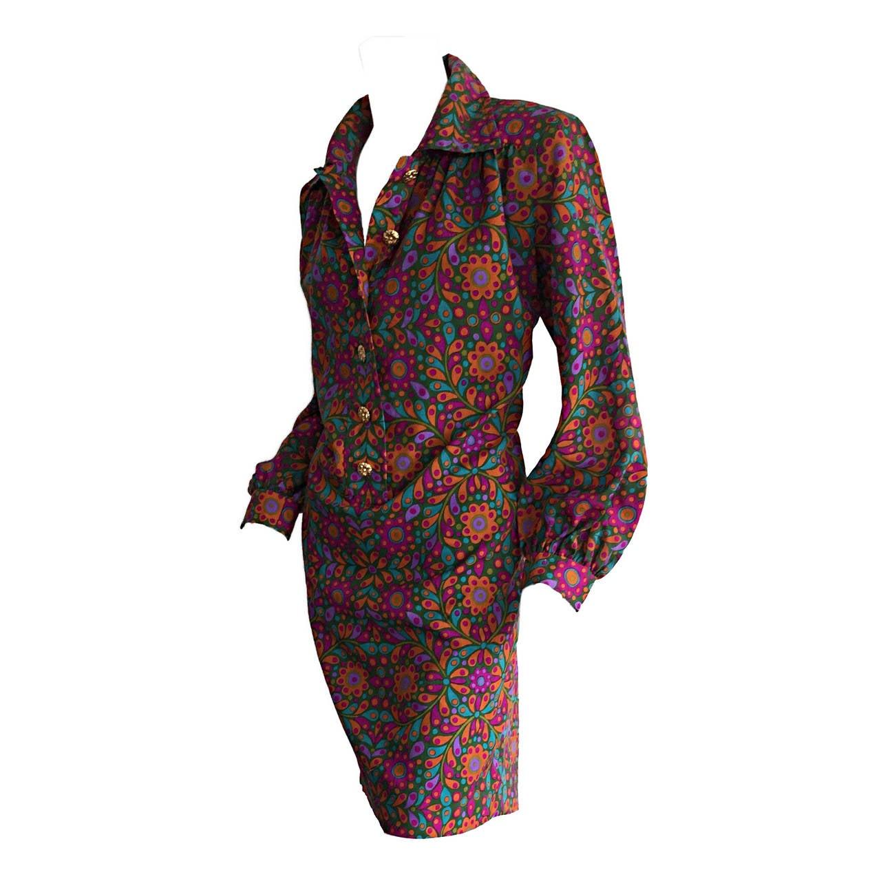 Splendid Vintage Yves Saint Laurent ' Rive Gauche ' Colorful Flower Dress