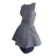Avant Garde 1990s James Purcell Size 8 Black and White Silk 90s Gingham Dress