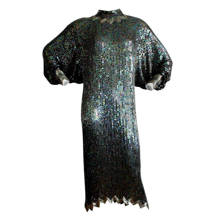 Important Vintage Halston Sequin Dolman Dress At 1stdibs