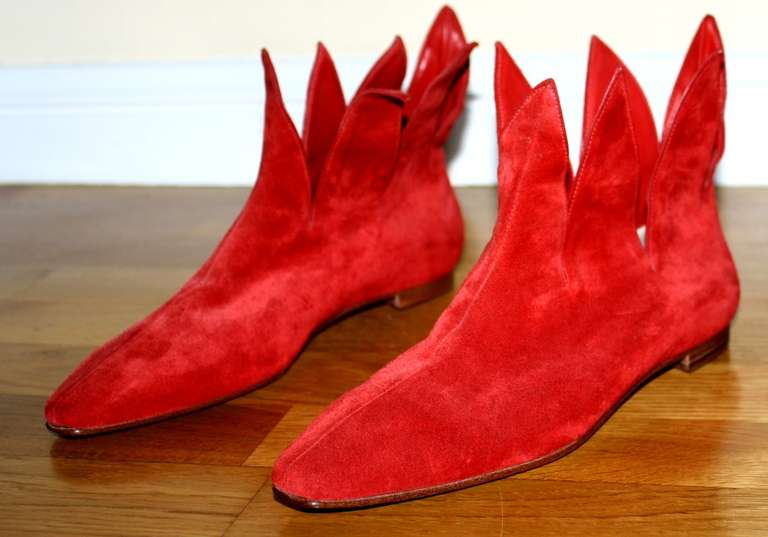 Super Rare Vintage Early Manolo Blahnik 1990s Red Flame Booties Brand New 37 / 7 2