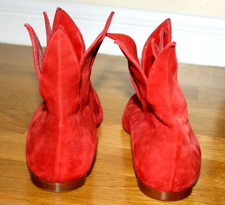 Super Rare Vintage Early Manolo Blahnik 1990s Red Flame Booties Brand New 37 / 7 4
