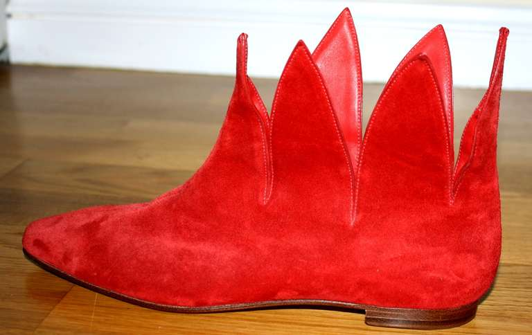 Super Rare Vintage Early Manolo Blahnik 1990s Red Flame Booties Brand New 37 / 7 5