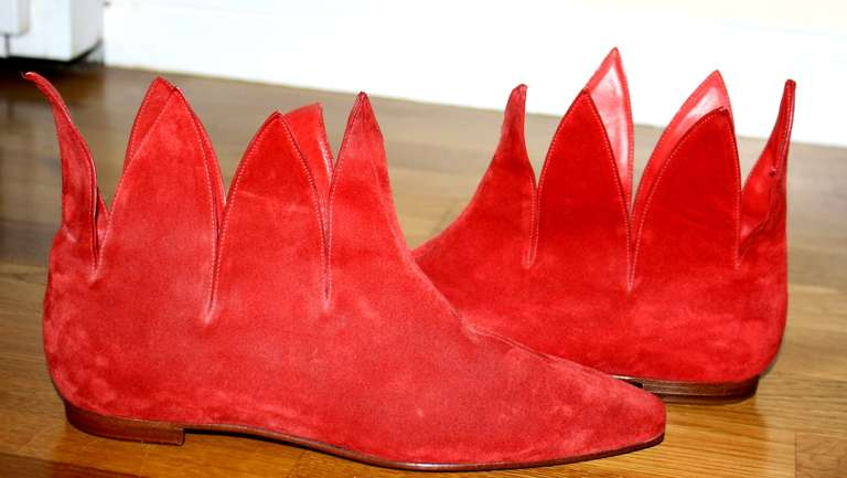 Super Rare Vintage Early Manolo Blahnik 1990s Red Flame Booties Brand New 37 / 7 7