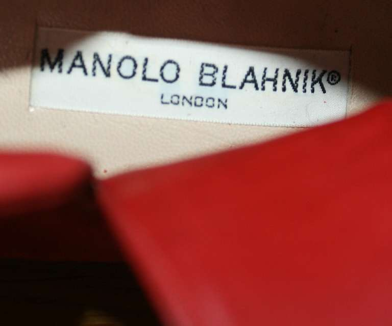 Super Rare Vintage Early Manolo Blahnik 1990s Red Flame Booties Brand New 37 / 7 8
