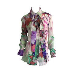 Beautiful Escada Silk Watercolor Blouse w/ Deteachable Neck Tie + Belt