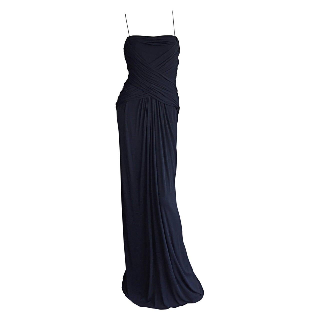 Fine + Rare 1970s Bob Mackie Black Jersey Grecian Goddess Gown For ...