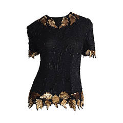 Beautiful Vintage Black + Gold Silk Beaded Scalloped Sequin Blouse Top