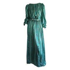 Stunning 1980s Green Metallic Patterned Silk Dress w/ Rhinestone Braid Belt