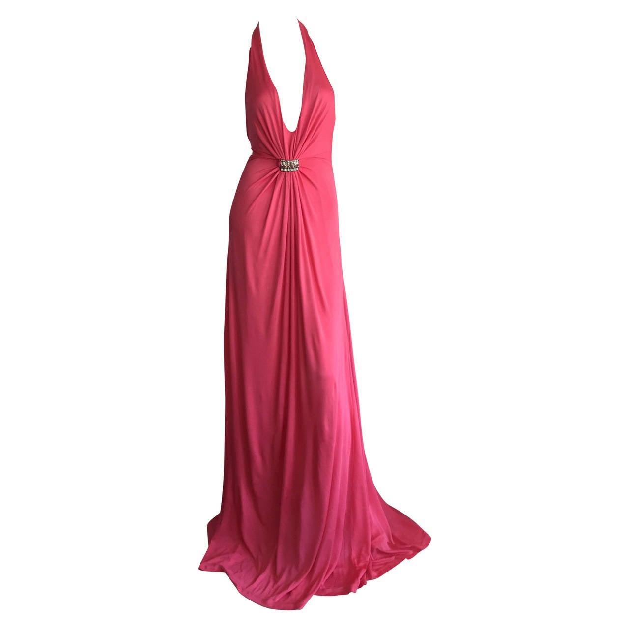 Byblos Pink Silk Jersey ' Plunge ' Pink Coral Halter Gown w/ Spikes 1