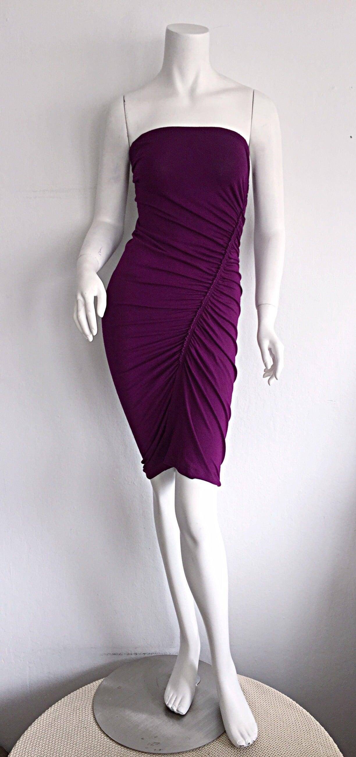 Brand New Donna Karan ' Black Label ' Fall 2010 Purple Ruched Runway Dress 2