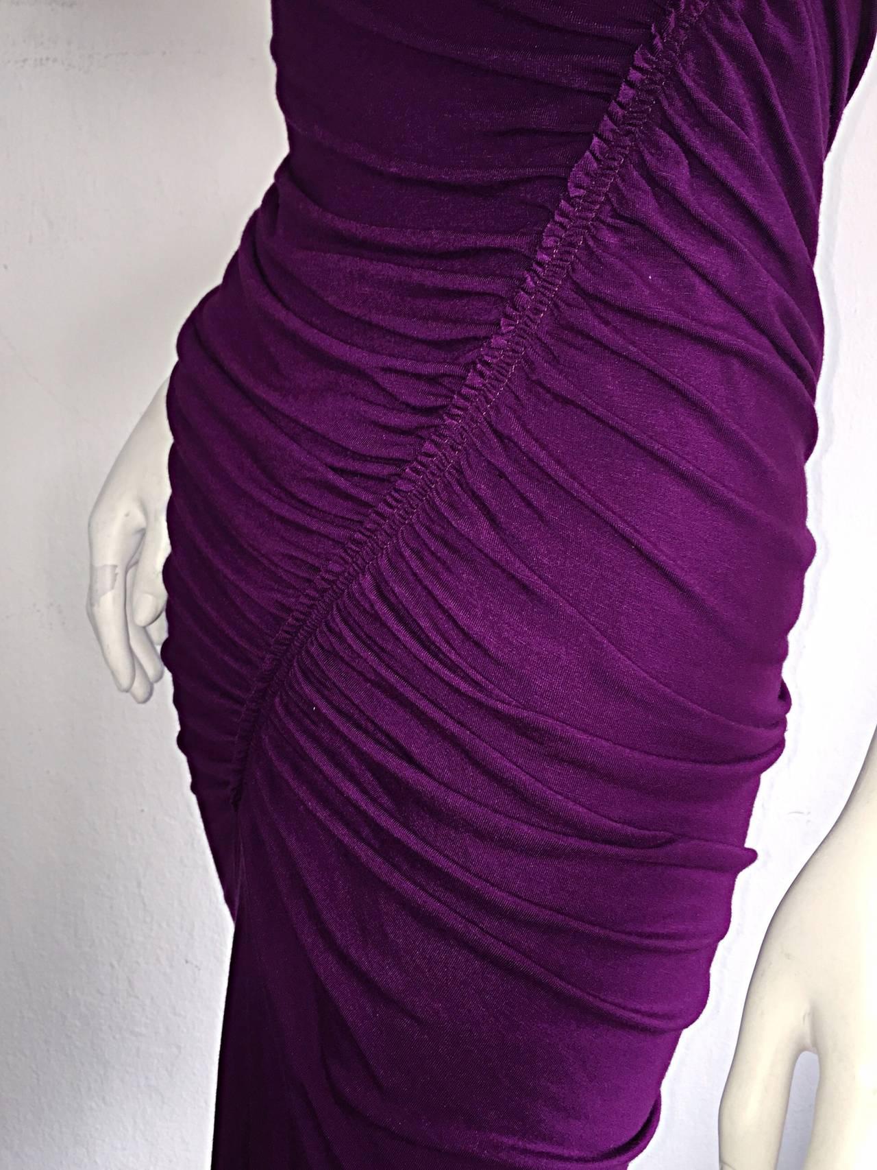 Brand New Donna Karan ' Black Label ' Fall 2010 Purple Ruched Runway Dress 3
