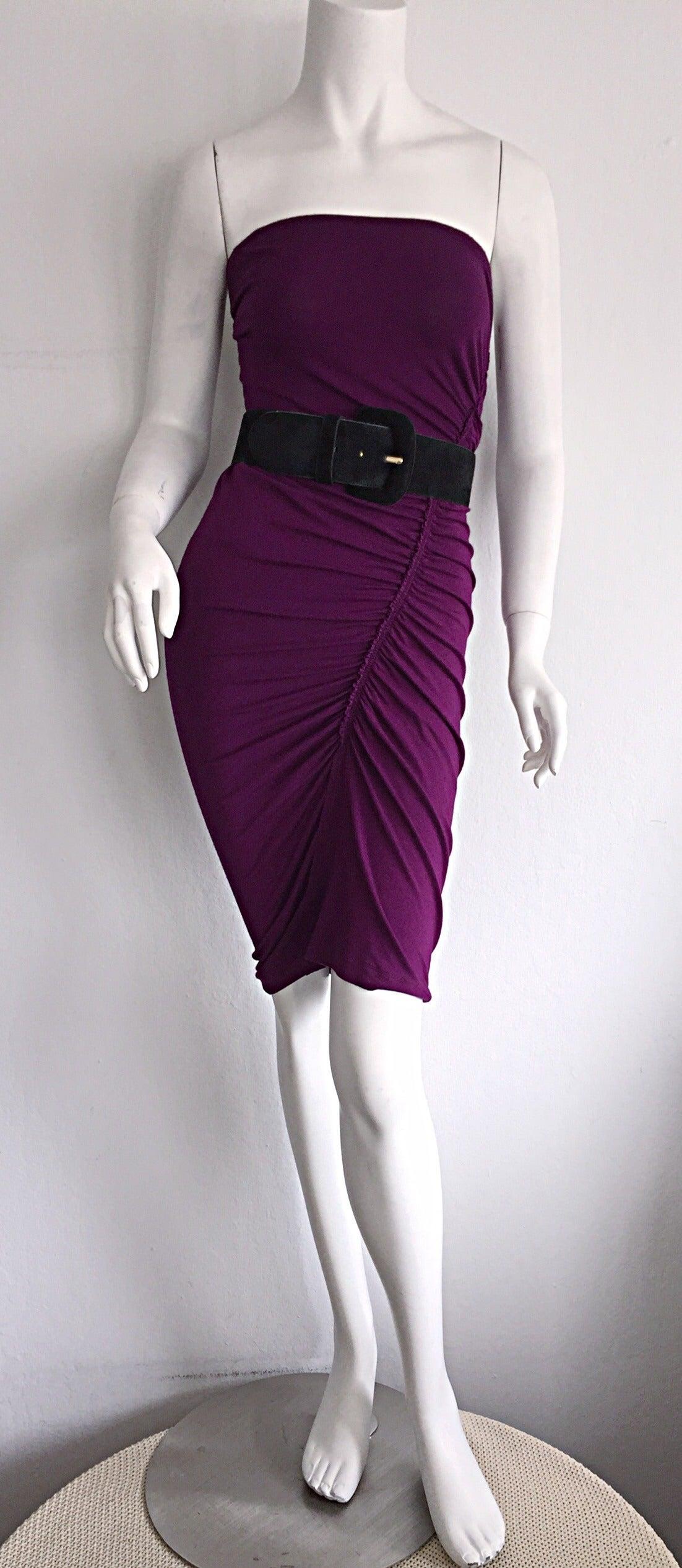 Brand New Donna Karan ' Black Label ' Fall 2010 Purple Ruched Runway Dress 4