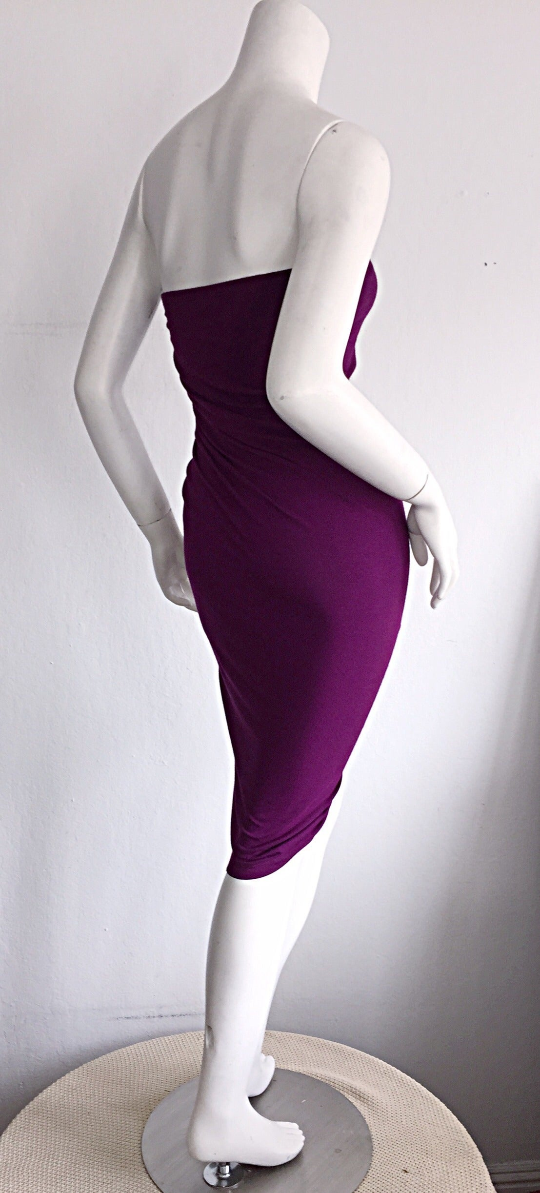 Brand New Donna Karan ' Black Label ' Fall 2010 Purple Ruched Runway Dress 5