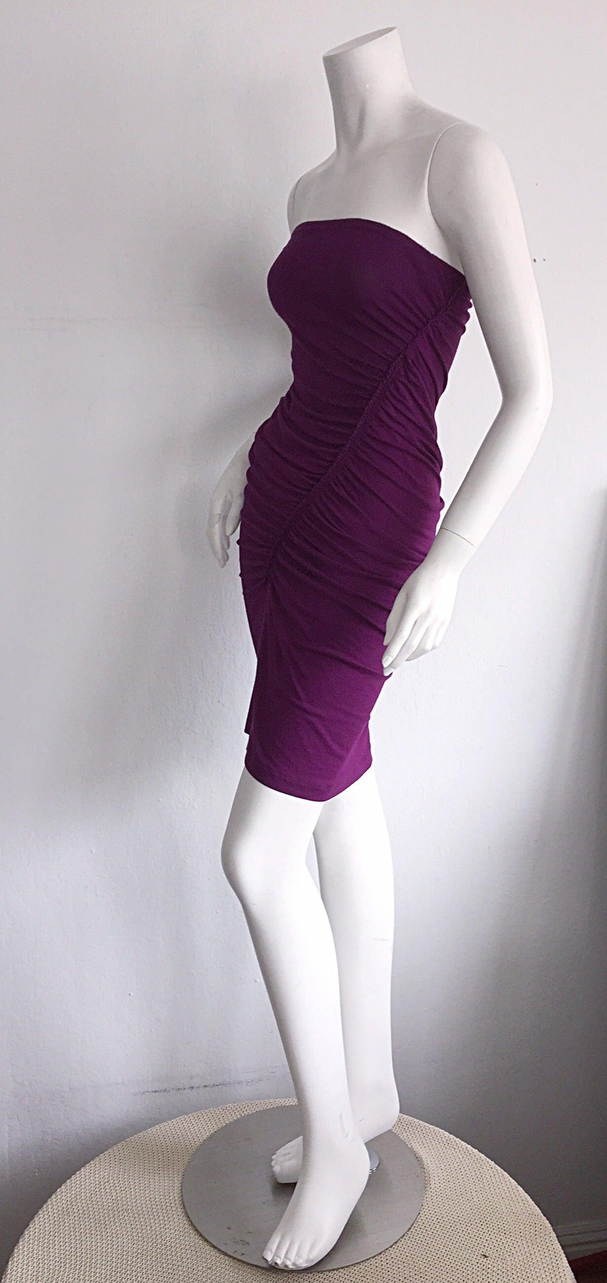 Brand New Donna Karan ' Black Label ' Fall 2010 Purple Ruched Runway Dress 6
