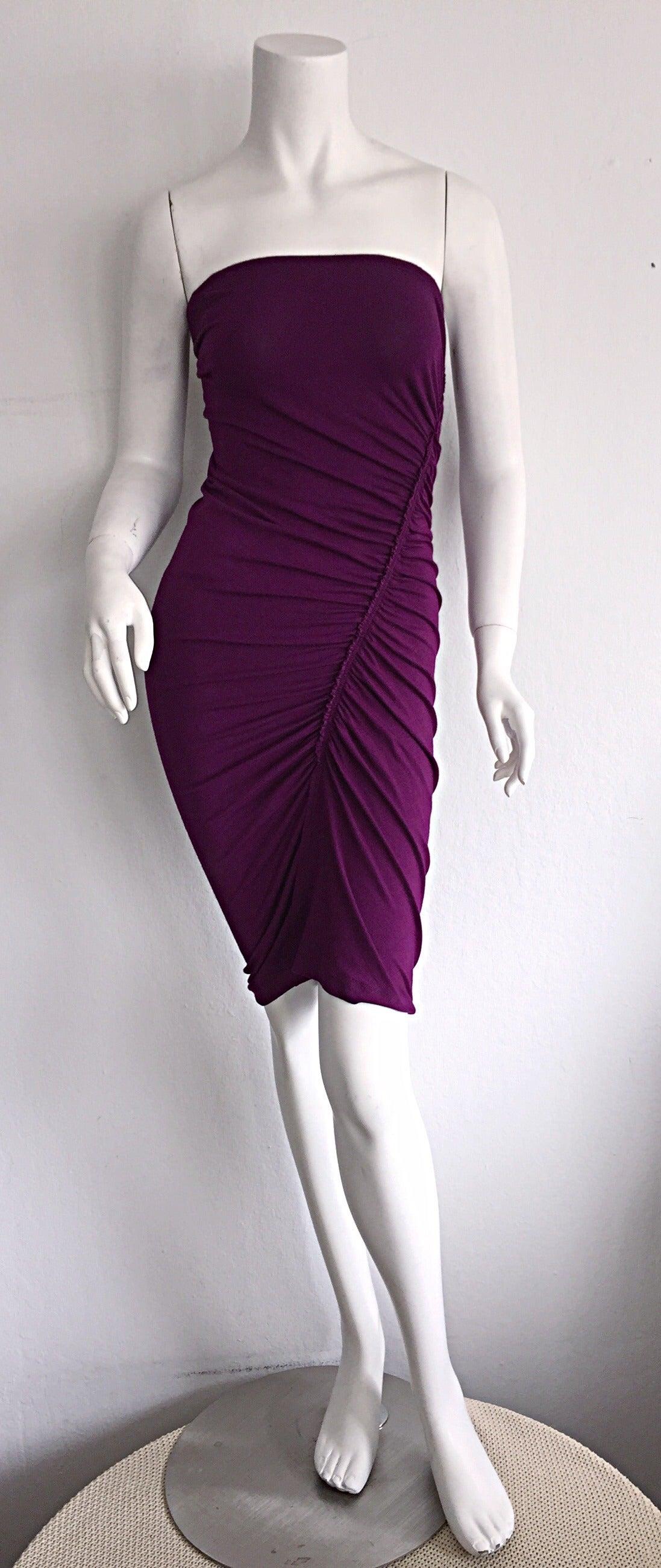 Brand New Donna Karan ' Black Label ' Fall 2010 Purple Ruched Runway Dress 7