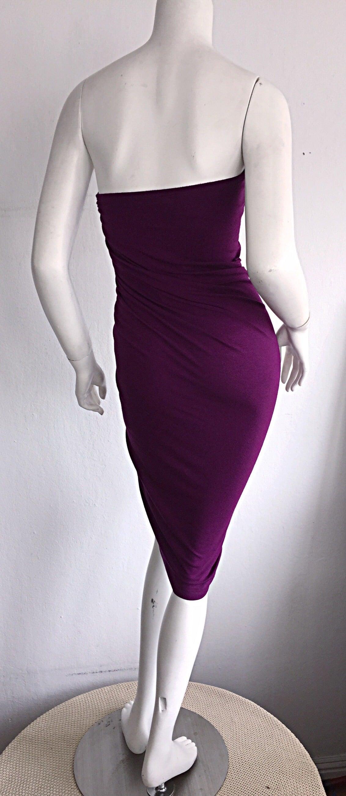 Brand New Donna Karan ' Black Label ' Fall 2010 Purple Ruched Runway Dress 8