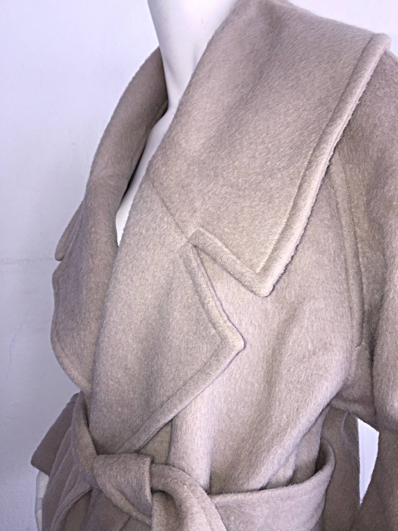 Stylish Vintage Guy Laroche Alpaca + Wool Taupe Wrap Blanket Jacket / Coat For Sale 1