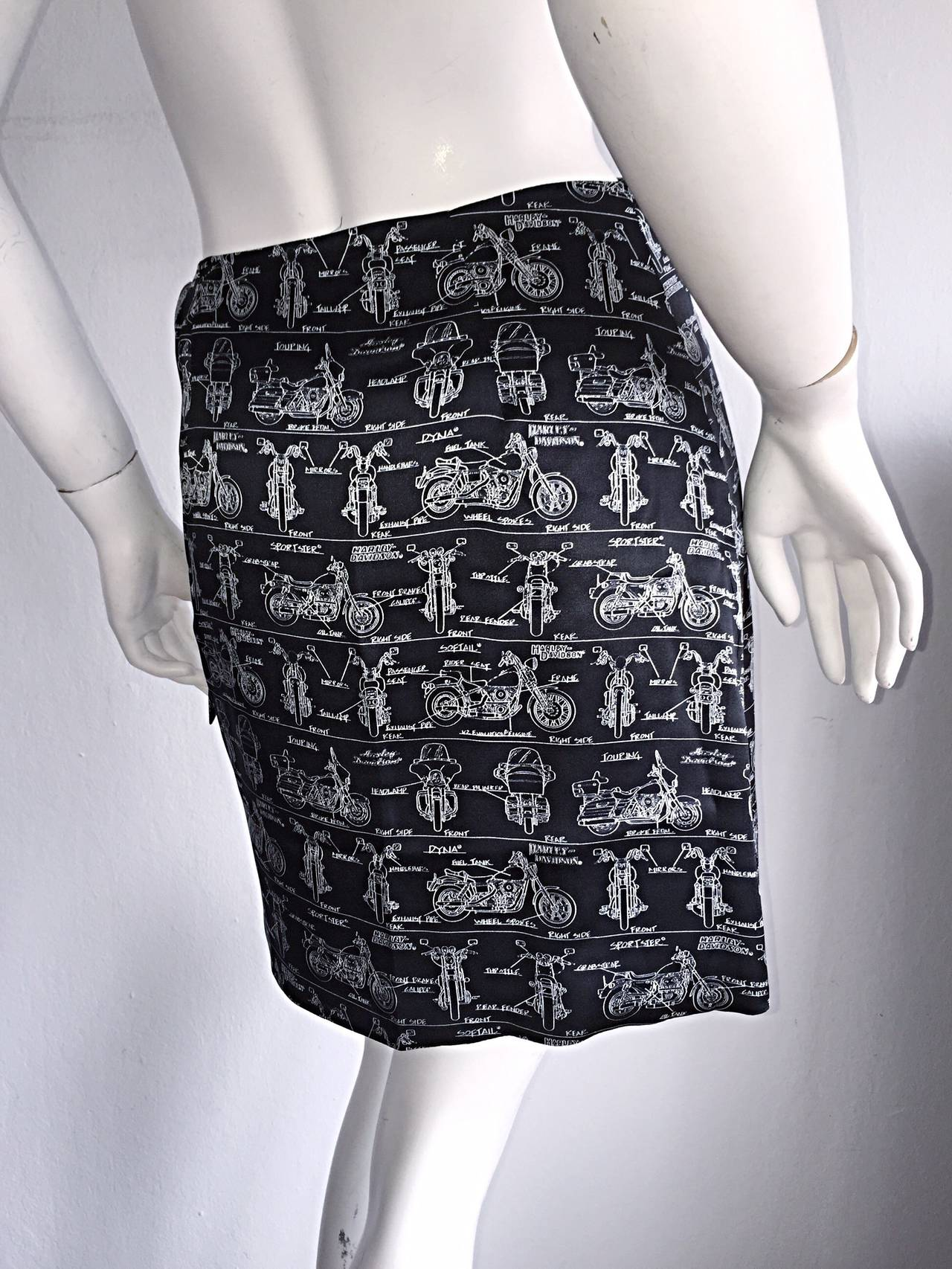 Rare Vintage Nicole Miller Limited Edition Harley Davidson Motorcycle Wrap Skirt For Sale At 1stdibs