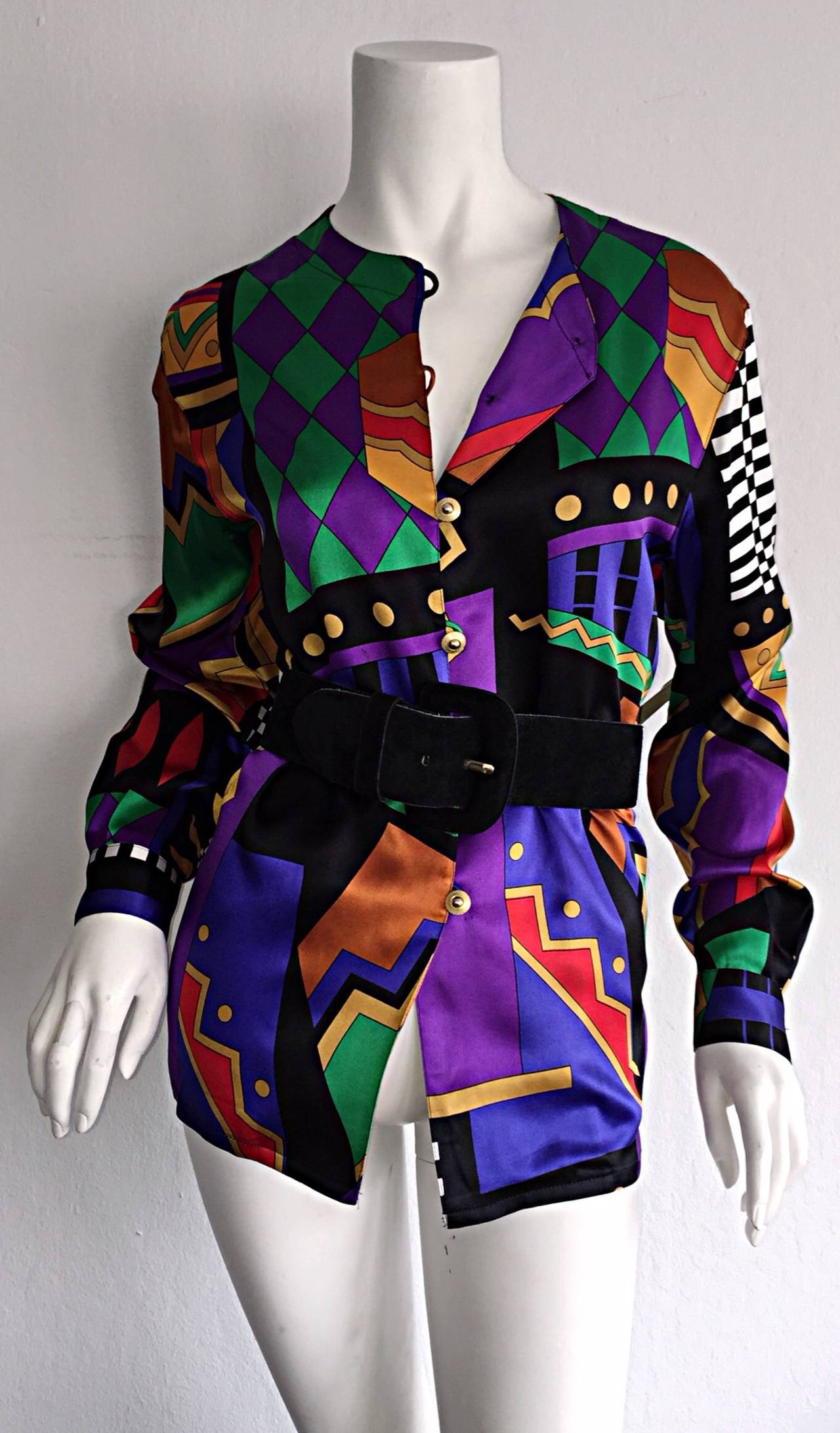 Purple Vintage Louis Feraud Abstract Geometric Print Silk Blouse w/ Gold Buttons For Sale