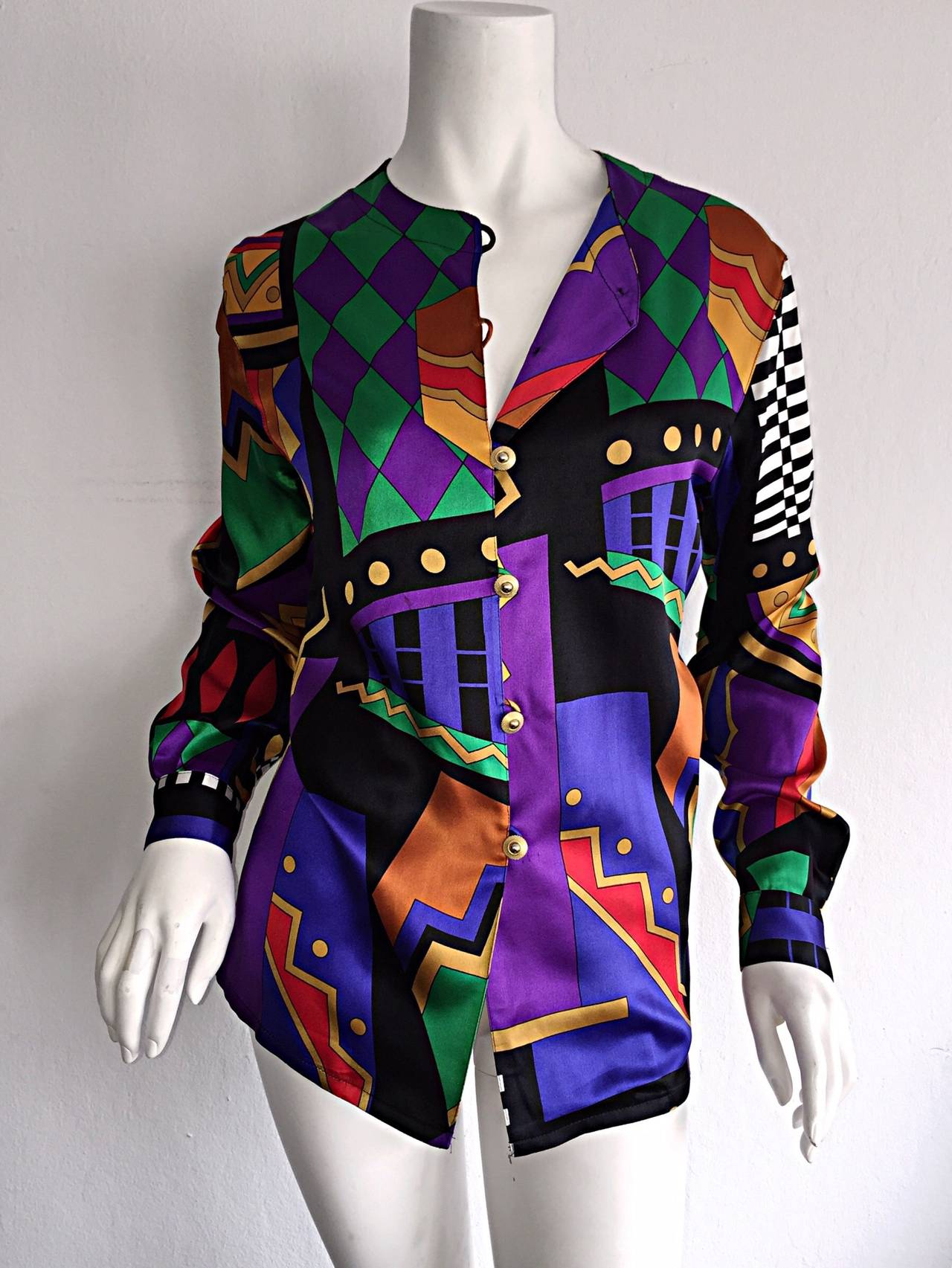 Vintage Louis Feraud Abstract Geometric Print Silk Blouse w/ Gold Buttons For Sale 2