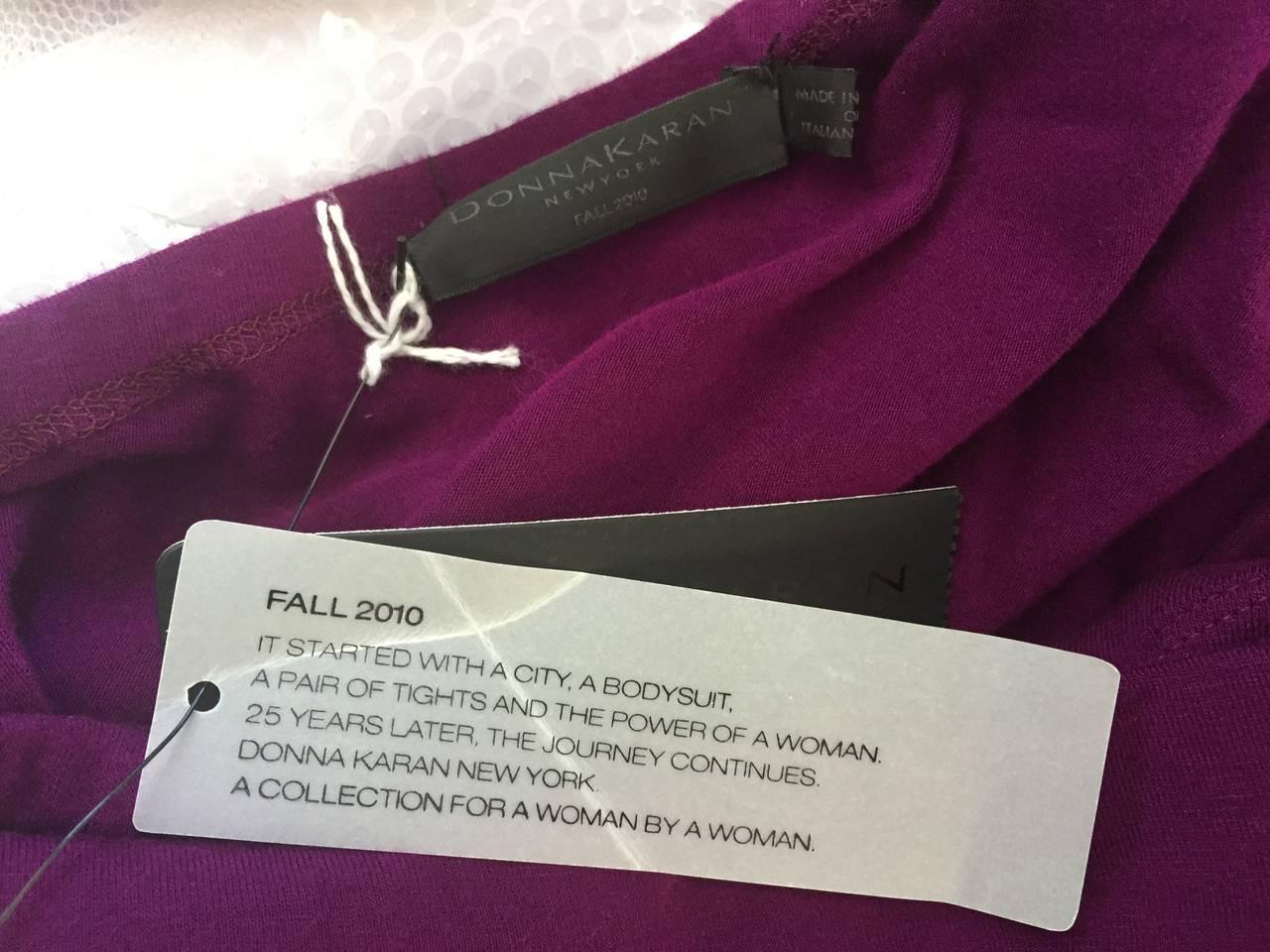Brand New Donna Karan ' Black Label ' Fall 2010 Purple Ruched Runway Dress 9