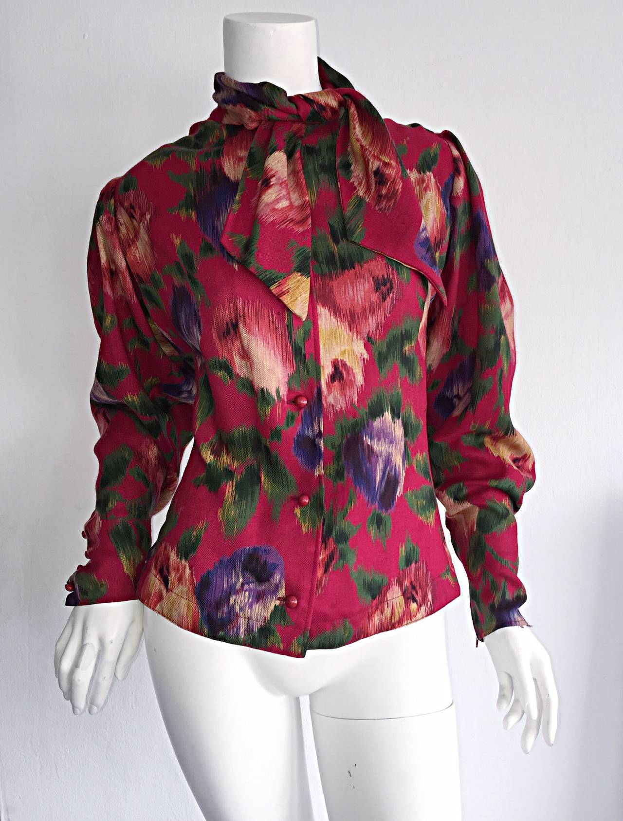 Vintage Emanuel Ungaro Beautiful Rose Watercolor Pussycat Bow Blouse Top 2