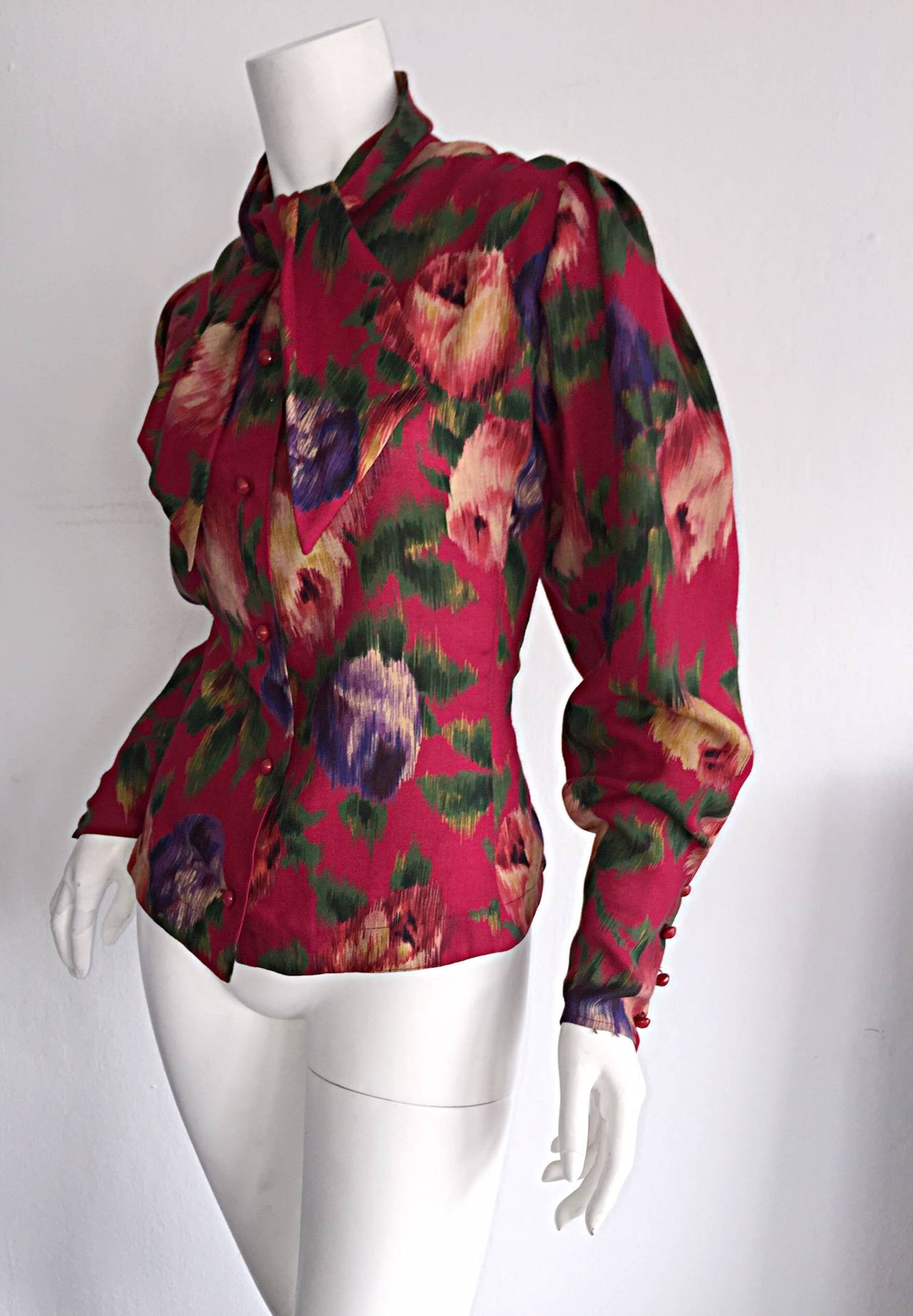 Vintage Emanuel Ungaro Beautiful Rose Watercolor Pussycat Bow Blouse Top 5