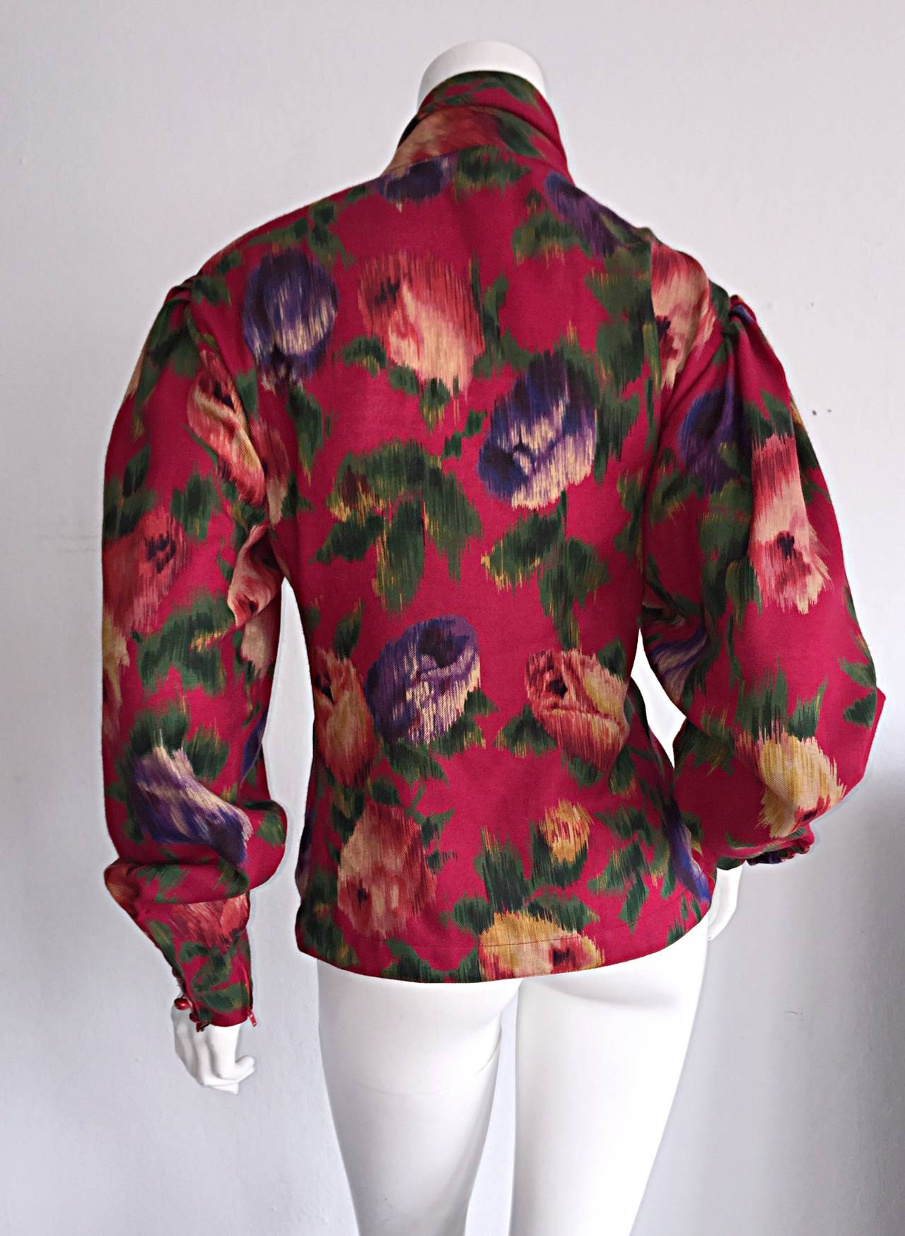 Vintage Emanuel Ungaro Beautiful Rose Watercolor Pussycat Bow Blouse Top 7