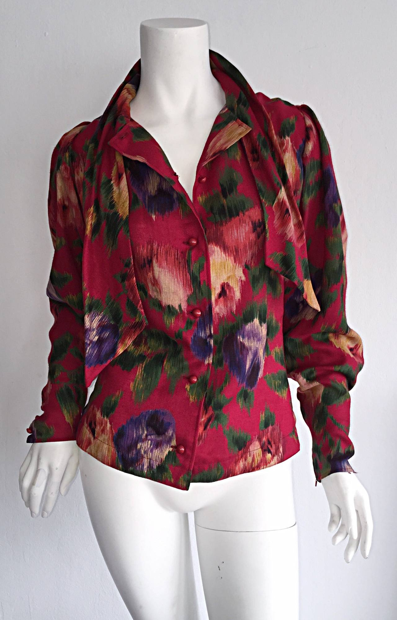 Vintage Emanuel Ungaro Beautiful Rose Watercolor Pussycat Bow Blouse Top 8