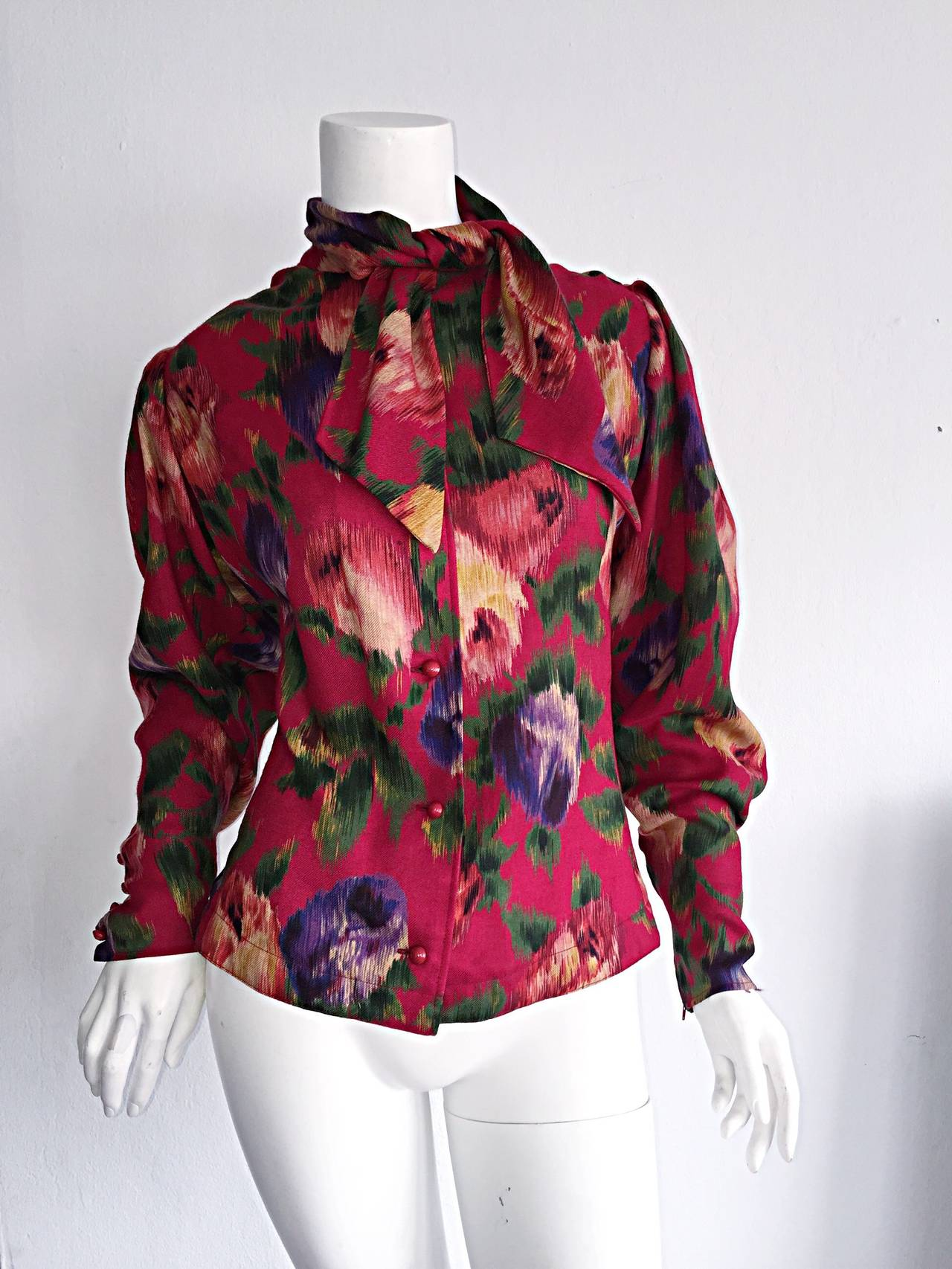 Vintage Emanuel Ungaro Beautiful Rose Watercolor Pussycat Bow Blouse Top 9