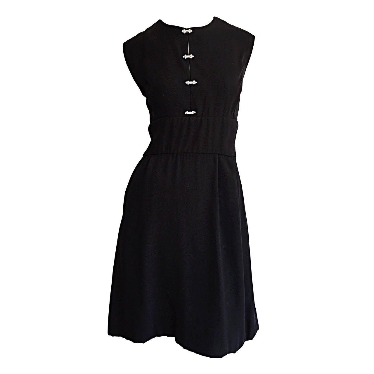 Black dress vintage - 1960s Ceil Chapman Vintage Little Black Dress W Rhinestones 1
