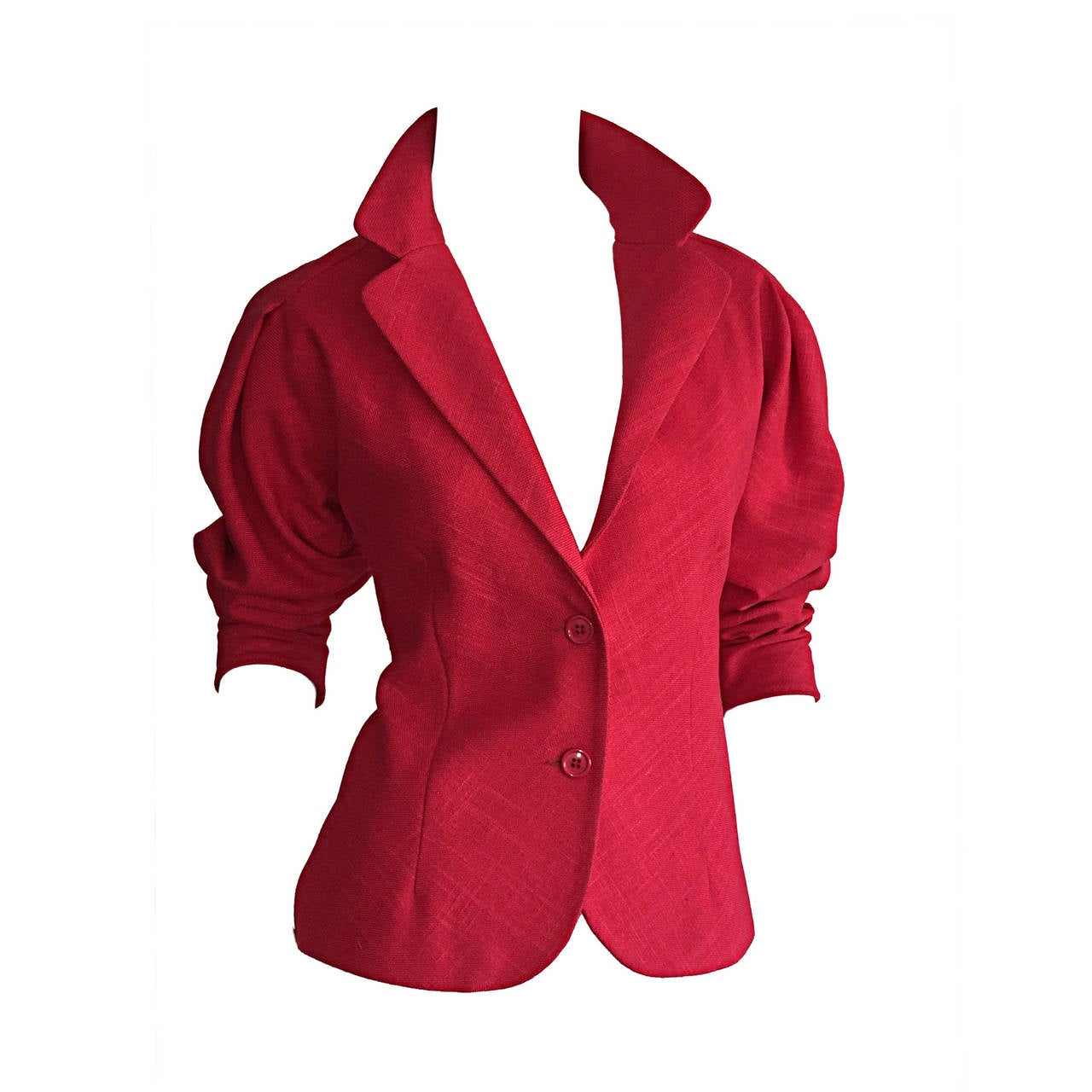Vintage Halston Candy Apple Red Fitted Linen Blazer Jacket For Sale