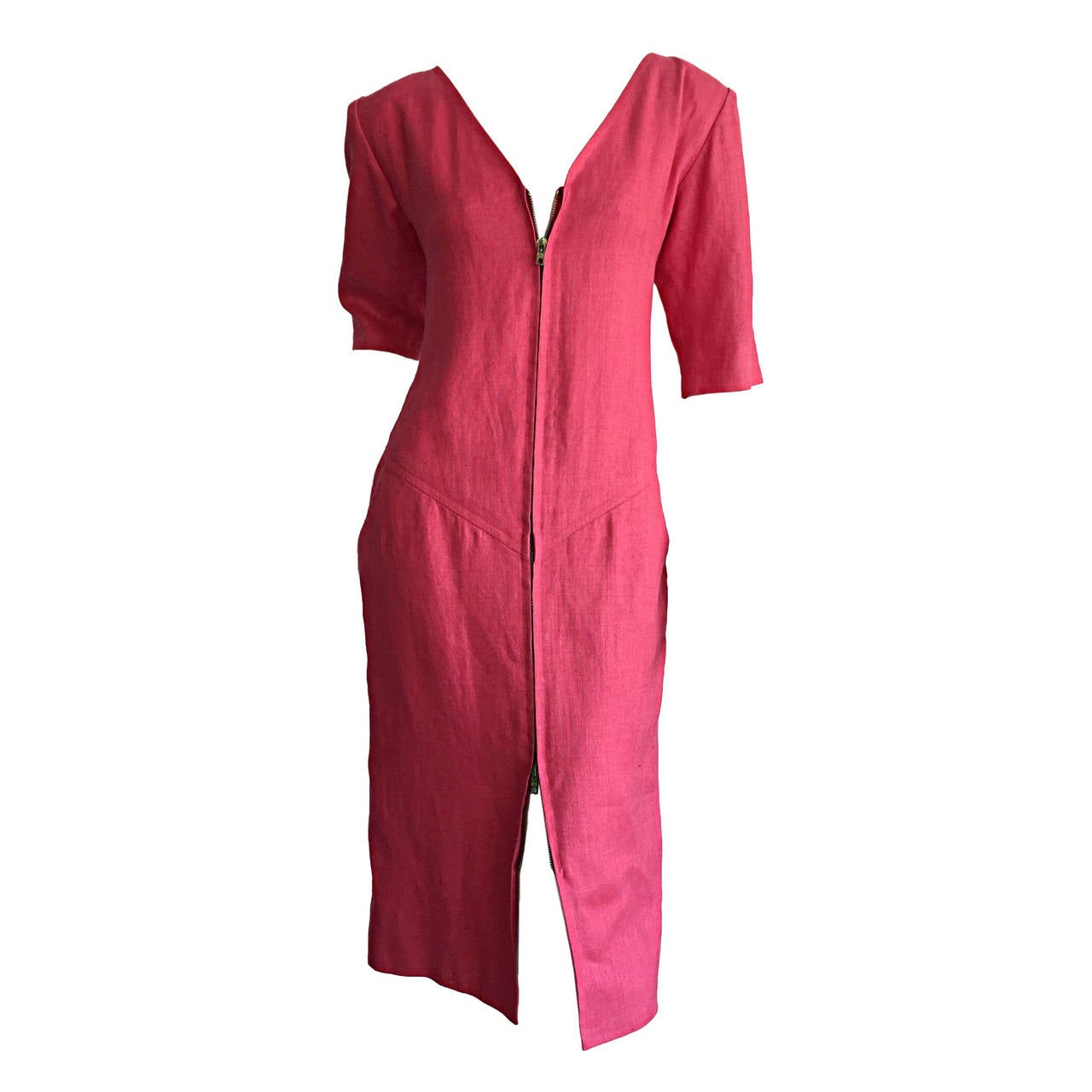 Yves Saint Laurent Rive Gauche Raspberry Pink Linen Vintage Corset Tunic Dress