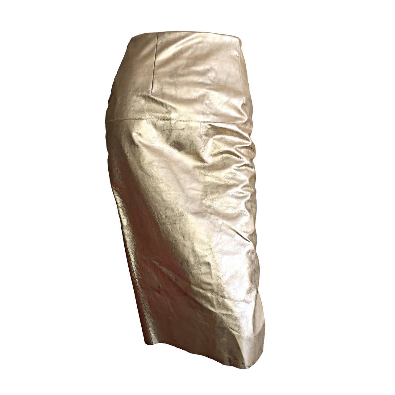 James Purcell Vintage New Gold Leather Distressed High Waisted Pencil Skirt