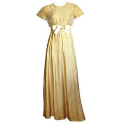 Geoffrey Beene Vintage Gold Metallic Pearl Belted Gown