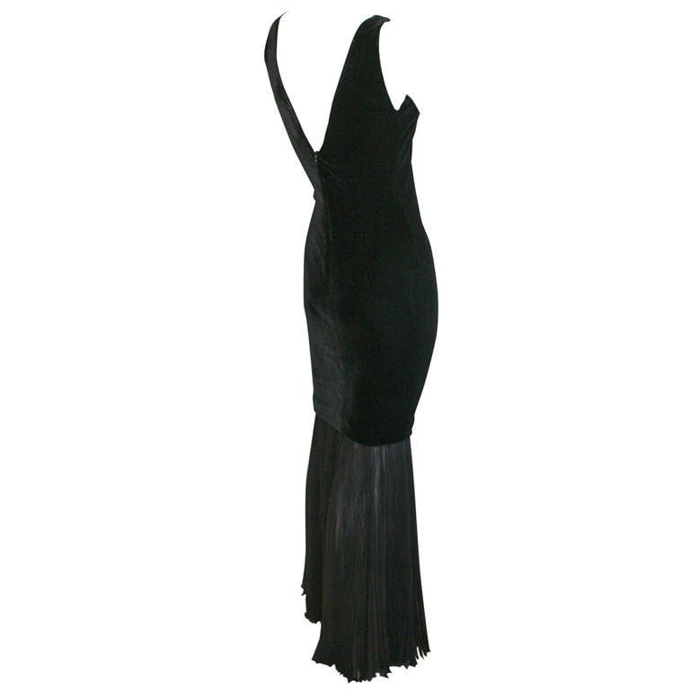 Jean Paul Gaultier Vintage Black Velvet Sexy Mermaid Fishtail Gown 1