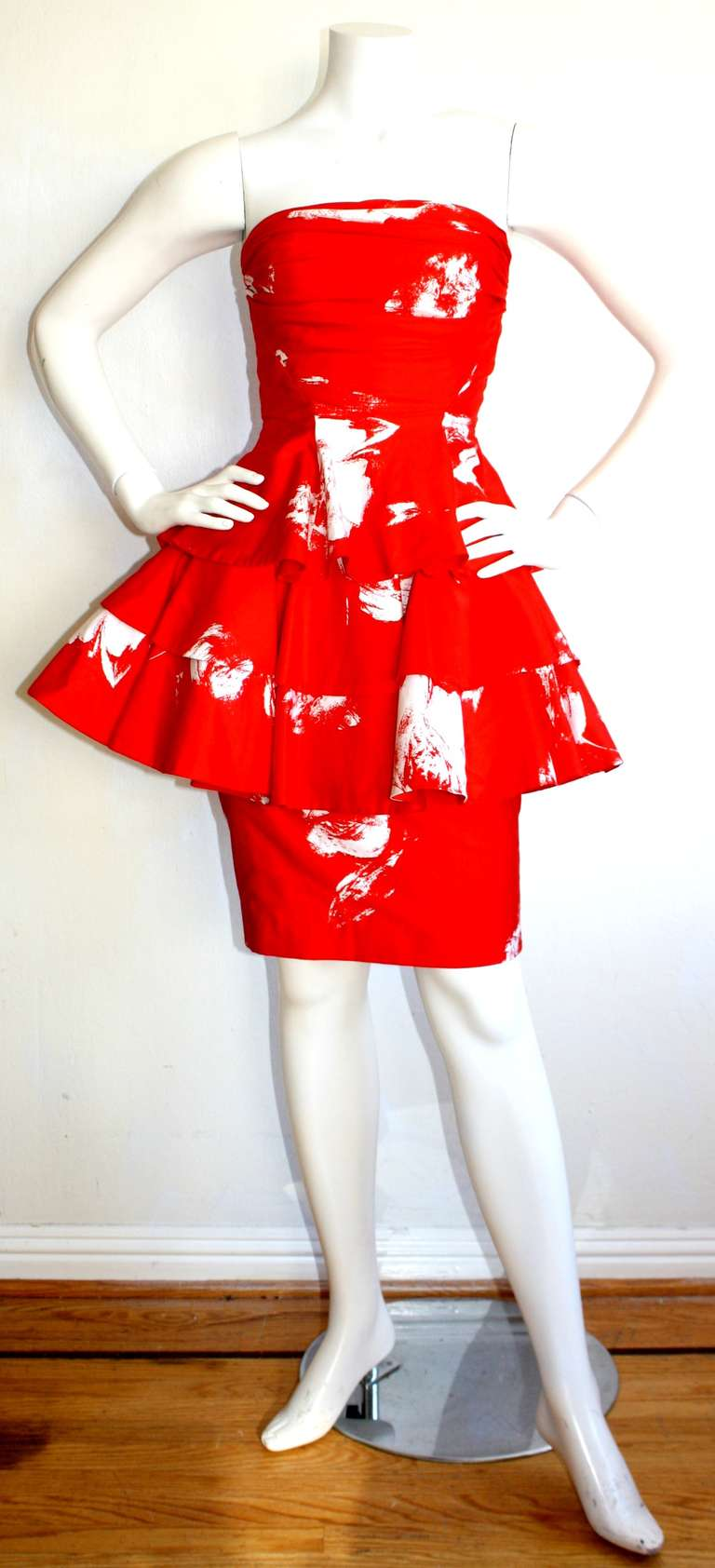 Vintage Barboglio Two Piece Peplum Red Dress Set 2