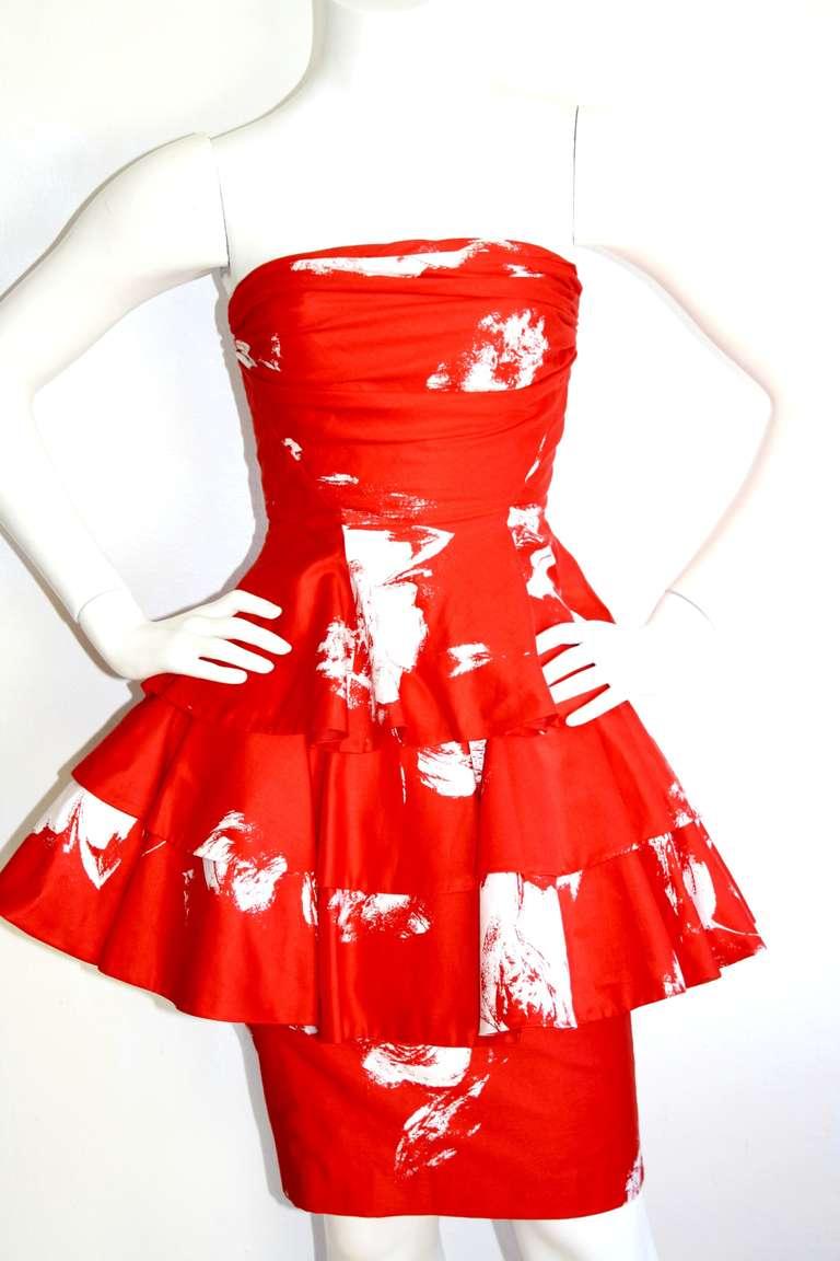 Vintage Barboglio Two Piece Peplum Red Dress Set 4