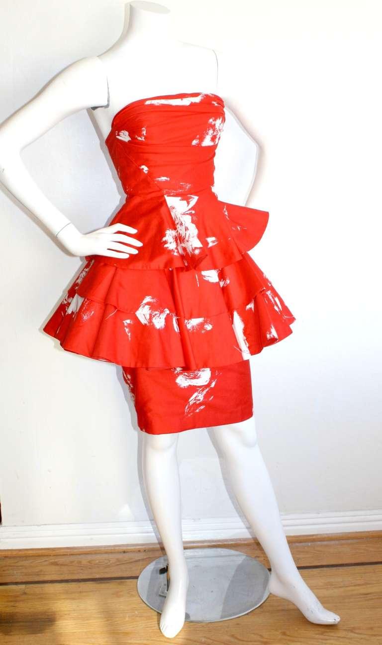 Vintage Barboglio Two Piece Peplum Red Dress Set 6