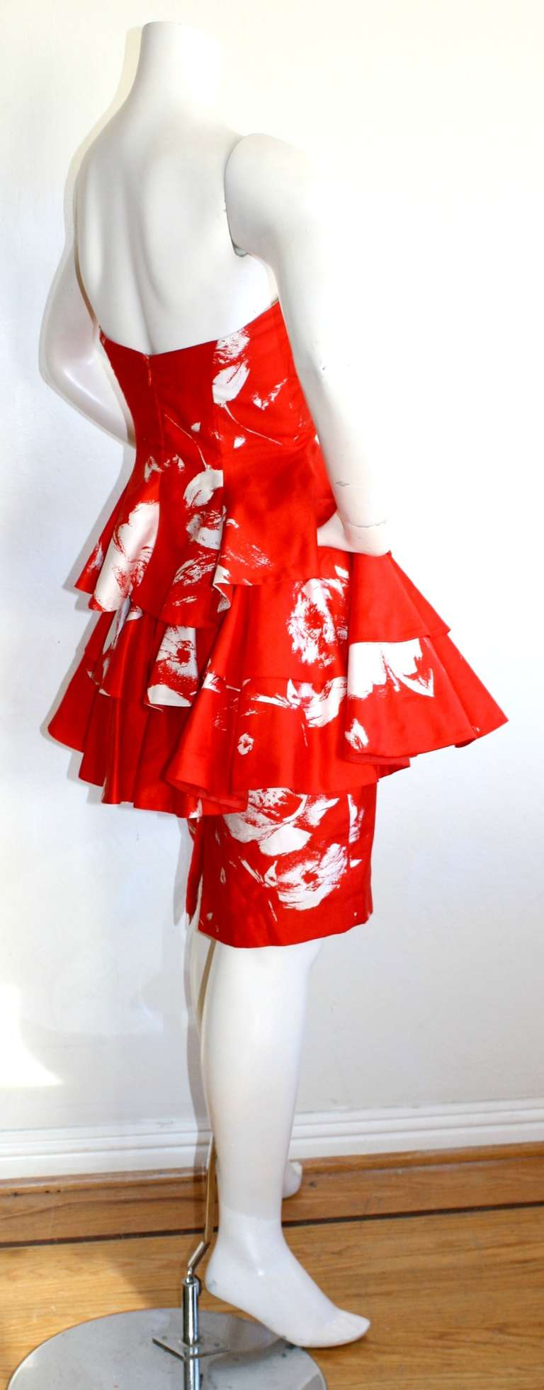 Vintage Barboglio Two Piece Peplum Red Dress Set In Excellent Condition For Sale In San Francisco, CA