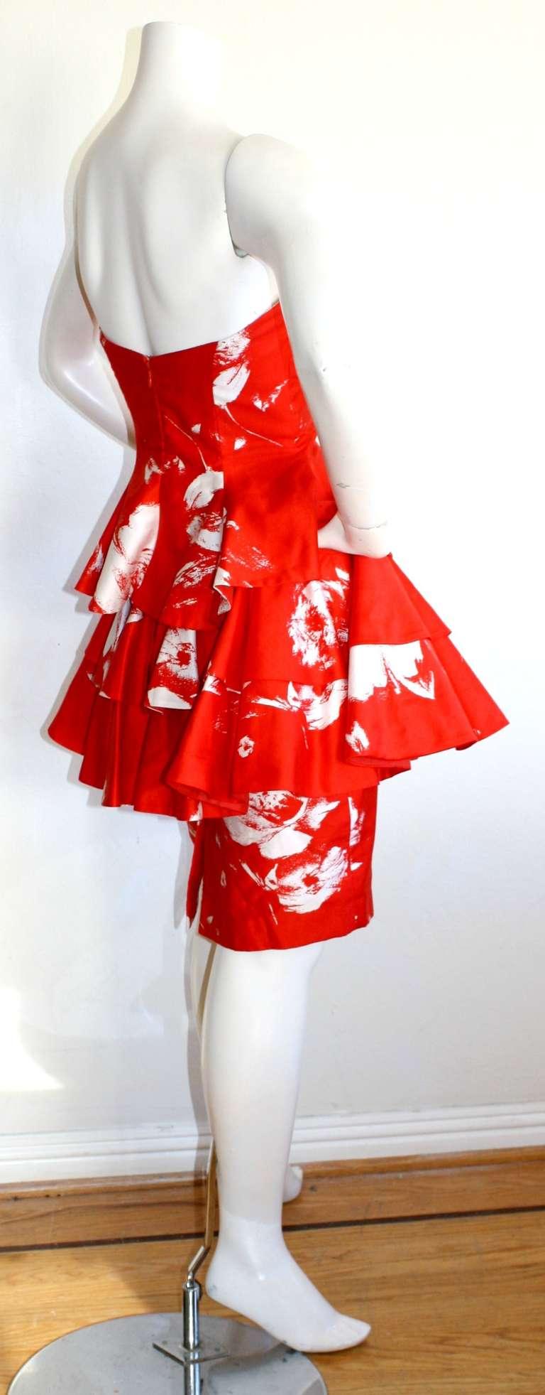 Vintage Barboglio Two Piece Peplum Red Dress Set 3
