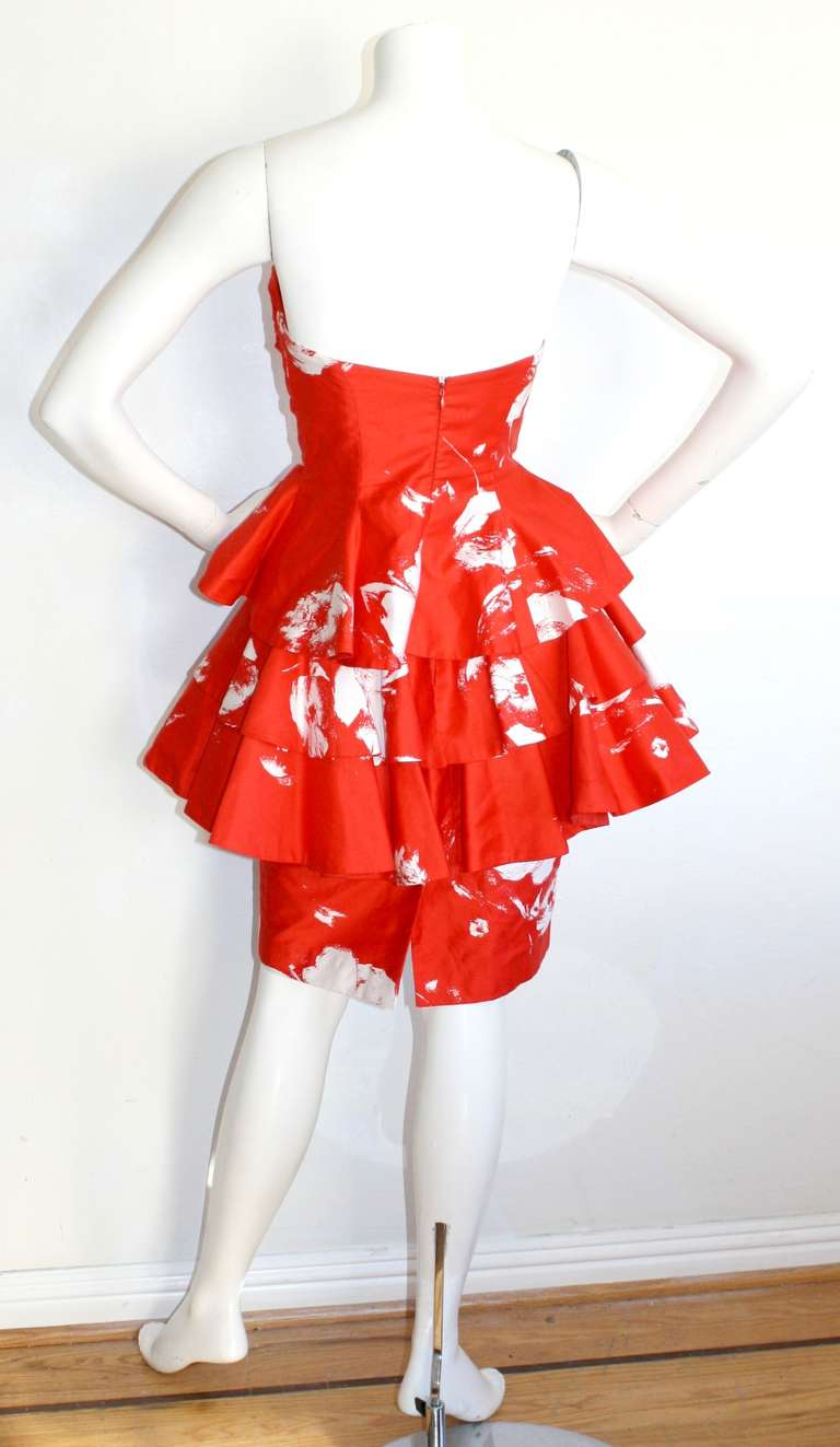 Vintage Barboglio Two Piece Peplum Red Dress Set 7