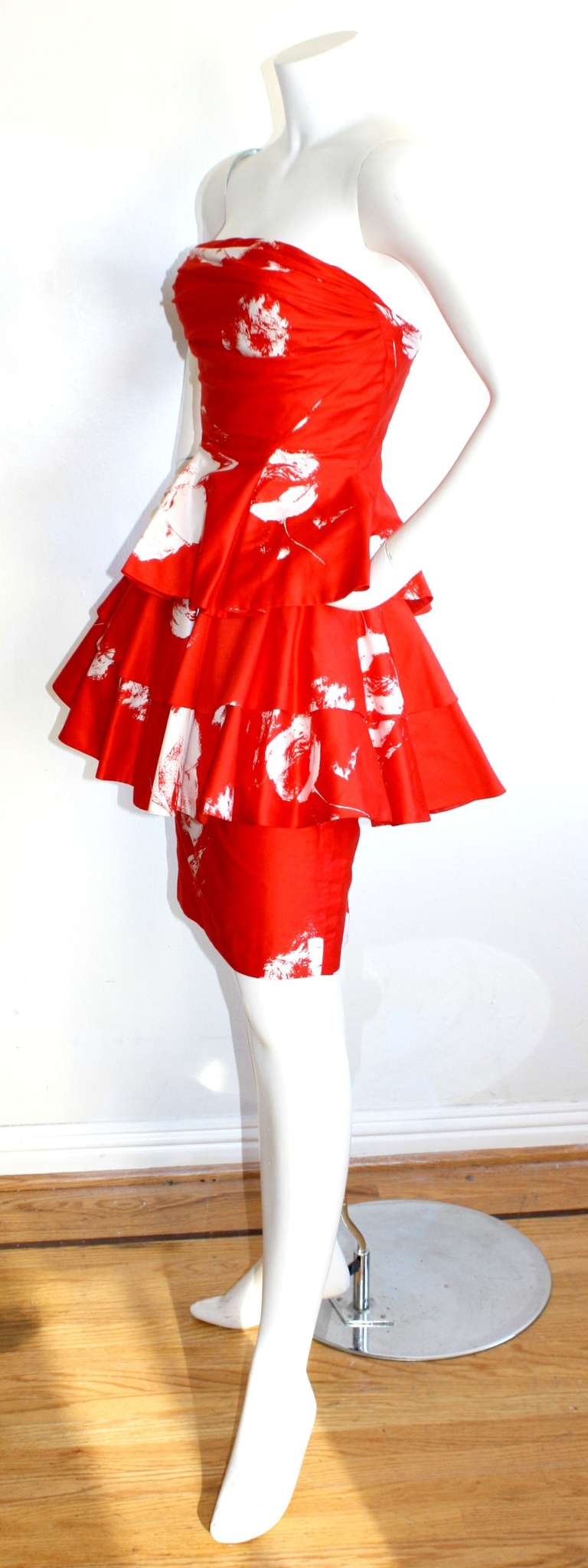 Vintage Barboglio Two Piece Peplum Red Dress Set 5